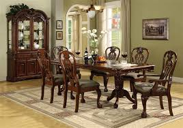 Cherry Dining Room Tables Brussels 7 Piece Dining Set In Cherry Finish By Crown Mark 2470
