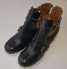 womens black leather boots size 9 buckle block heel leather boots for us size 9 ebay