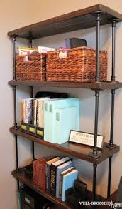 industrial pipe bookcase well groomed home office craft room