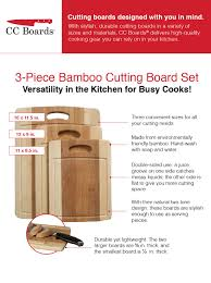 amazon com cc boards 3 piece bamboo cutting board set wooden the cc boards 3 piece bamboo cutting board set is larger and thicker than most other brands to better meet your food prep needs