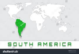 Blank Map Of South America blank map world green highlighted continent stock vector 505299601