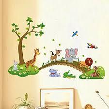 jungle animal across the bridge removable cartoon wall sticker