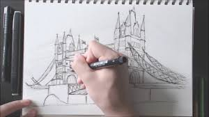 drawing the tower bridge in london timelapse youtube
