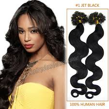 20 inch hair extensions inch 1 jet black wavy nail tip human hair extensions 100s