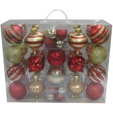 holiday time 64 piece shatterproof christmas ornament set red and