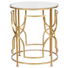 Worlds Away Round Side Table With Antique Mirror Top Gold Leaf
