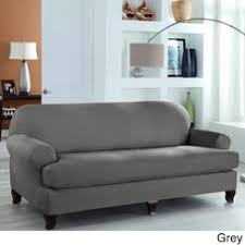 sure fit soft suede gray sofa slipcover slipcovers