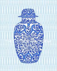 Ginger Jar Vase Blue And White Ginger Jar Vase No 8 Giclee By Laurarowstudio