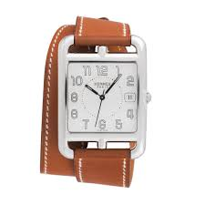 hermes cape cod cc1 810 double wrap leather 33mm mens watch