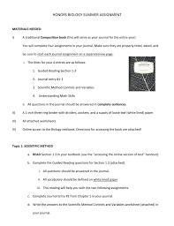 The Scientific Method Worksheet Honors Biology Summer Assignment