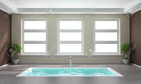 Concrete Floor Bathroom - minimalist bathroom with sunken bath in the concrete floor and