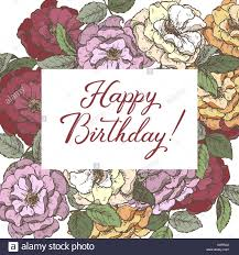 romantic birthday card template with calligraphy and roses sketch