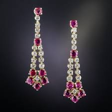 diamond dangle earrings estate ruby and diamond dangle earrings
