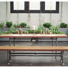 wood and pipe table metal pipe dining table rentals for new york two of a kind