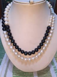 white freshwater pearls necklace images Double strand black and white freshwater pearls necklace jpg