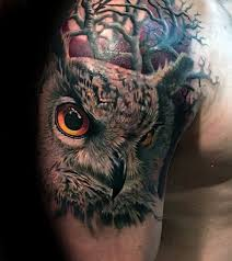 guys owl with trees realistic upper arm and shoulder tattoo owls