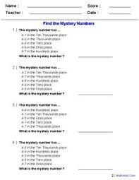 place value mystery number place value charts math aids math worksheets