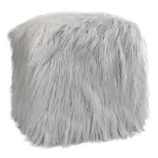 Faux Fur Throw Grey Fur Pouf Ottoman In Grey Mongolian Faux Fur Throws