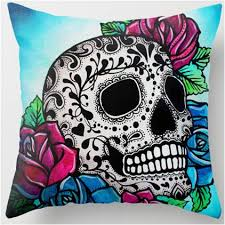 colorful sugar skull blue design throw pillow sugar skull