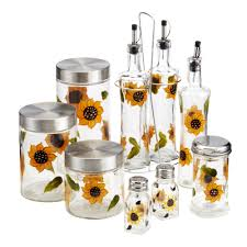 sunflower canisters for kitchen canisters extraordinary sunflower kitchen canisters canister sets