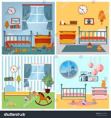 Toddler Bedroom Toys Children Bedroom Interior Furniture Toys Vector Stock Vector