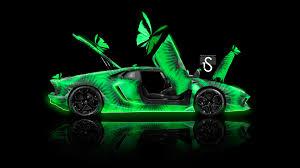 Lamborghini Aventador Neon - lamborghini aventador side open doors kiwi aerography butterfly