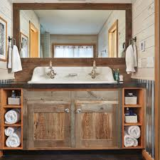 custom small double vanity around rustic small collection bathroom