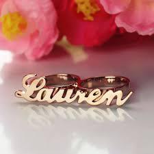 Name Ring Gold Lauren Conrad Allegro Two Finger Name Rings Rose Gold