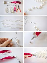 pearl necklace with ribbon images Holiday diy pearl necklace jpg