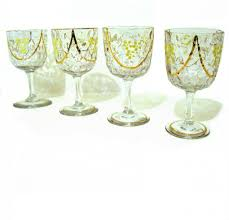 bohemian blown glass hand painted enamel gilt wine glasses from