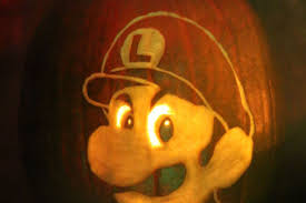 carve a luigi death stare pumpkin for halloween with this pattern
