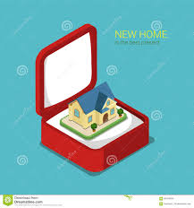 flat 3d isometric vector real estate house gift box villa house