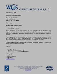 Quality Certification Letter deterco inc accreditations certifications