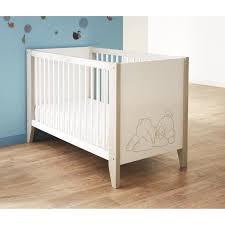 ourson lit bébé à barreaux 60x120 cm blanc et taupe achat vente