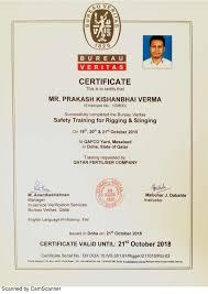 bureau veritas qatar bv certificate rigging and slinging