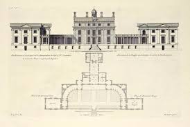elevation and plan of stoke park northamptonshire disegni