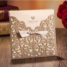 laser cut invitations graceful metallic gold laser cut ribbon wedding invitations