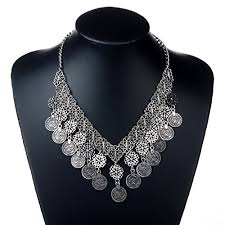 chunky necklace charms images Amaranteen punk coins pendant bib statement chunky choker jpg