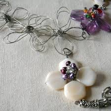 beading flower necklace images Bead and wire flower necklace jpg