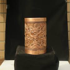 2018 precious copper carved ornaments pen holder desk