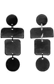 black drop earrings tiered geometric drop earrings in matte black bungalow20