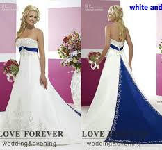 white wedding dress with royal blue sash 2016 vintage style plus size wedding dresses silver embroidery on