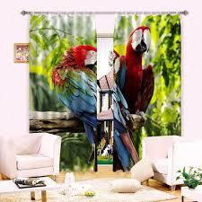 Bird Print Curtain Fabric 3 Layer Organization Of Black Silk Curtain Fabric Digital Print 3d