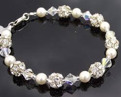 wedding bracelet pearl images Bridesmaids crystal pearl bracelet earring set clarissa jpg