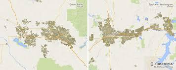 Spokane Washington Map Urban Footprint Boise Vs The World Boisetopia