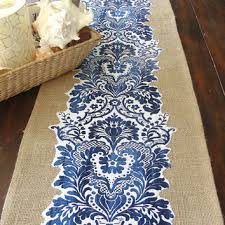 blue and white table runner table runners marvellous blue and silver table runner high