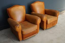 Leather Club Chair Vintage French Leather Club Chairs 1950s Set Of 2 For Sale At Pamono