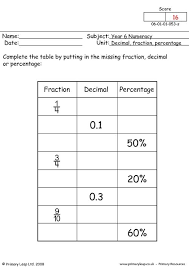 primaryleap co uk decimal fraction and percentage worksheet