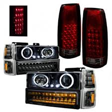 2000 silverado tail lights gmc sierra 2500 1994 2000 black halo headlights led drl and tail
