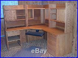 Oak Computer Desk With Hutch Solid Oak Corner Computer Desk Hutch Home Office Wood Furniture